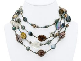 "Mixed Mocha Necklace  About this product:        Can be worn long or short.      Genuine shell.      Natural shell, colors may vary.      17–36"" adjustable, 4-strand.      Spring/Summer 2012 Catalog, pg 16.  $42.00"