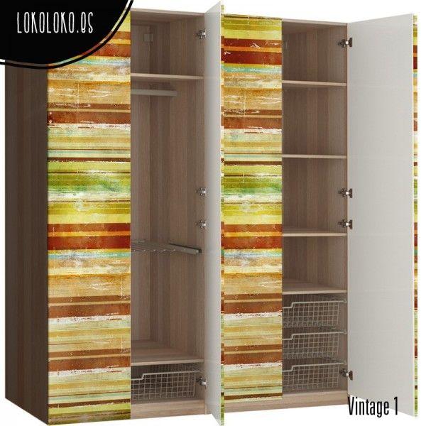 Madera vintage de colores puertas de armario colores for Vinilos armarios dormitorio