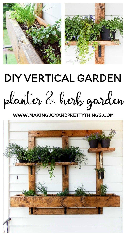 Diy Vertical Herb Garden And Planter 2x4 Challenge Vertical Garden Diy Wall Planters Outdoor Vertical Herb Garden