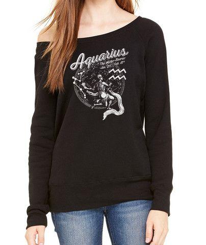 Women's Vintage Aquarius Zodiac Scoop Neck Fleece - Juniors Fit. Fashionable off the shoulder cut, $45.00 from #Boredwalk, plus free U.S. shipping. Click to purchase!