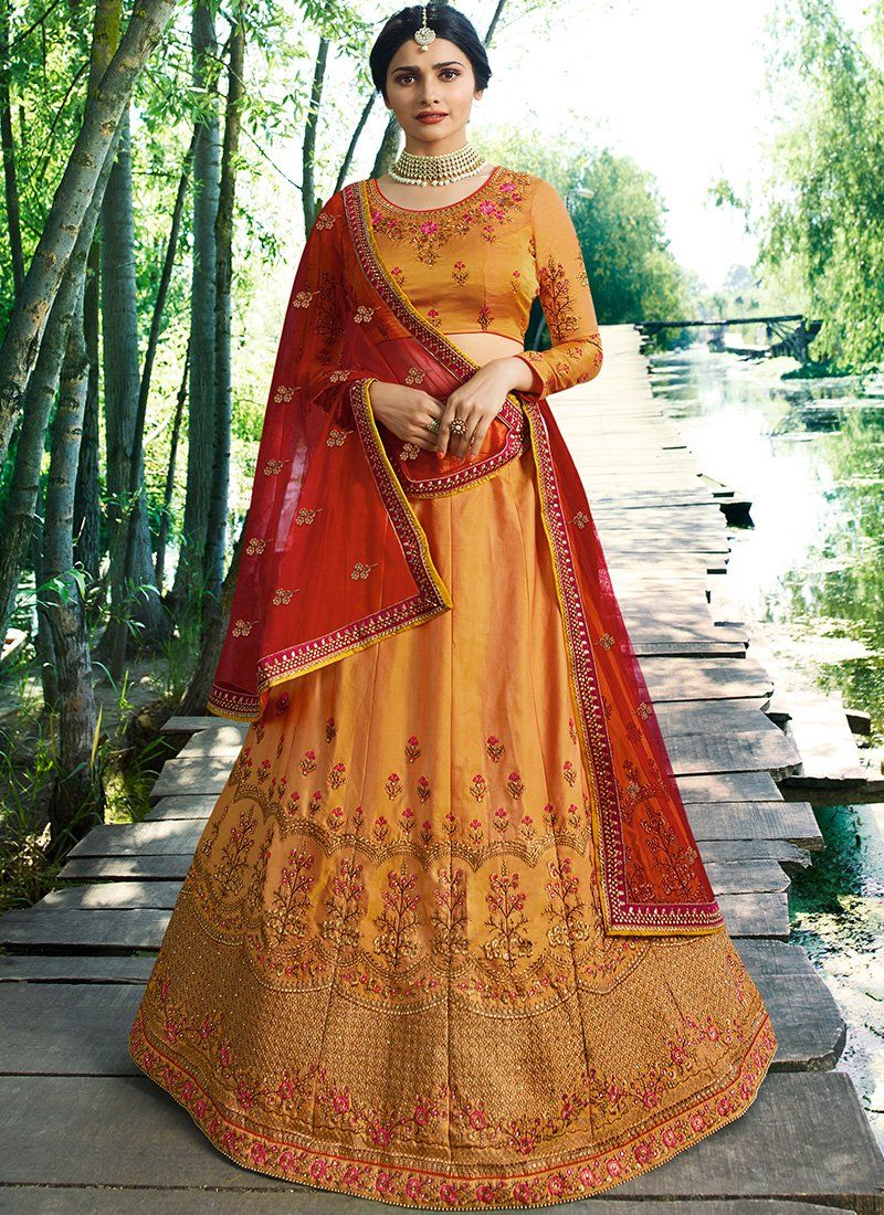 644c48576f Golden Yellow and Red Embroidered Art Silk Lehenga | Products | Silk ...