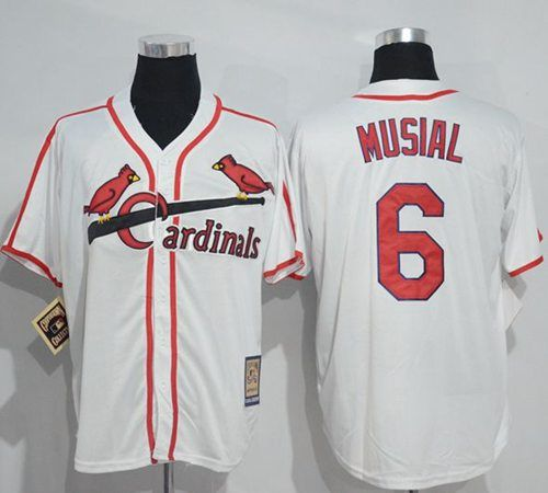 quality design ff7e7 c286c Mitchell And Ness Cardinals #6 Stan Musial White Throwback ...