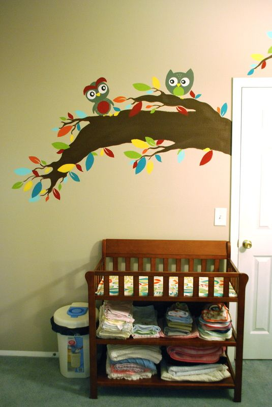 Baby Nursery Mural with Owls - lots of pictures