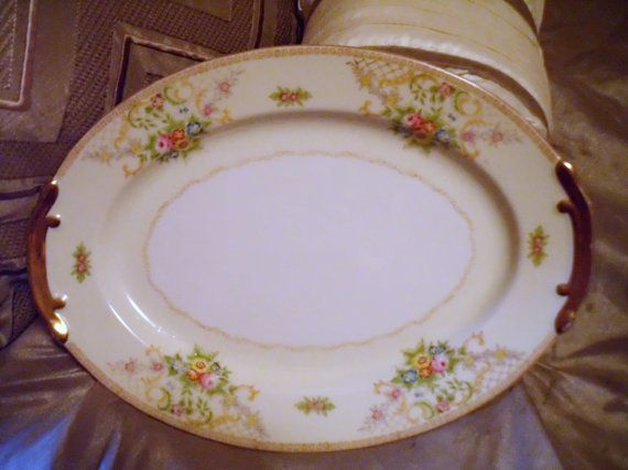 Delicate Gold Floral Serving Platter Dish