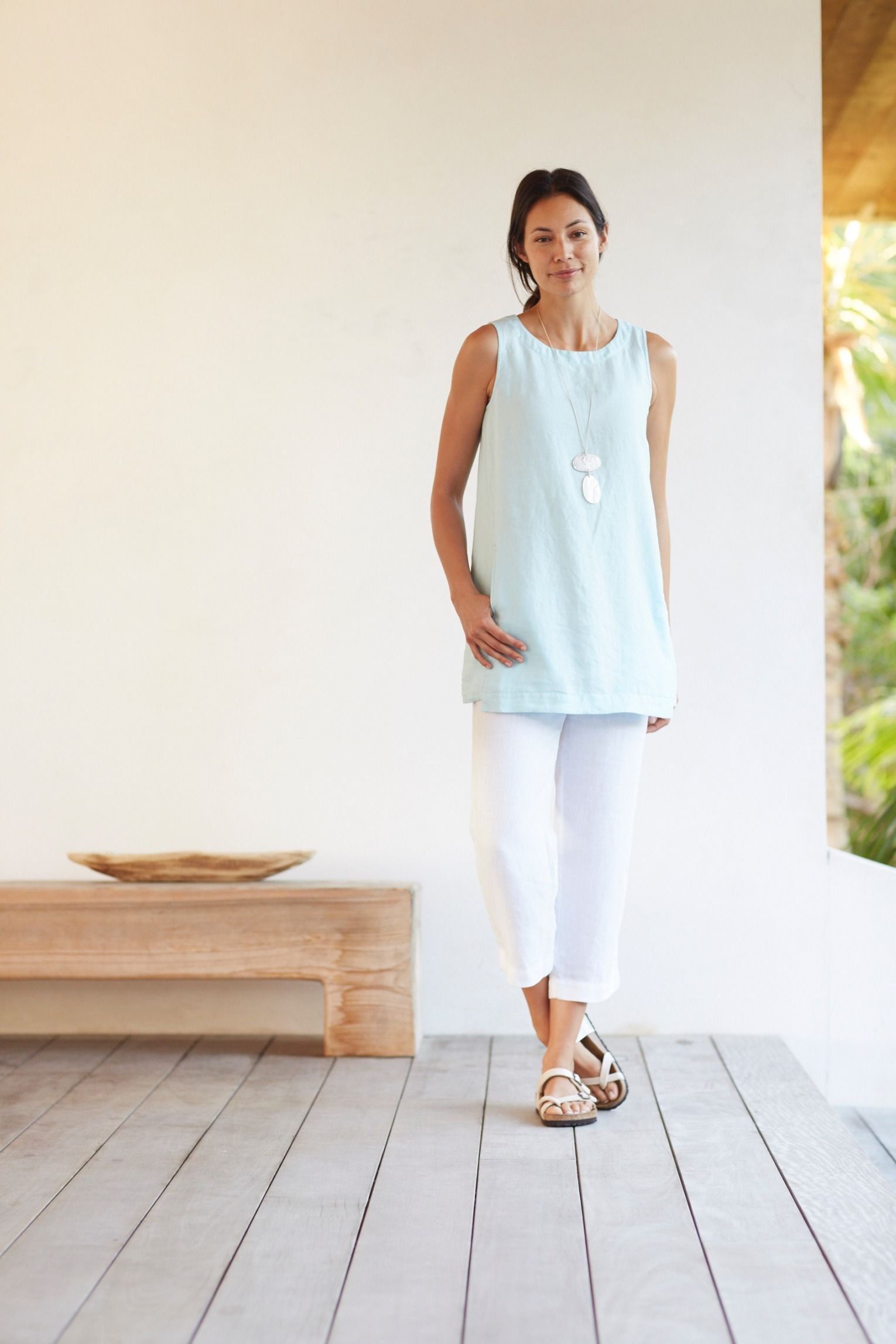 Pure Jill sleeveless linen tunic paired with the linen slim crops ...
