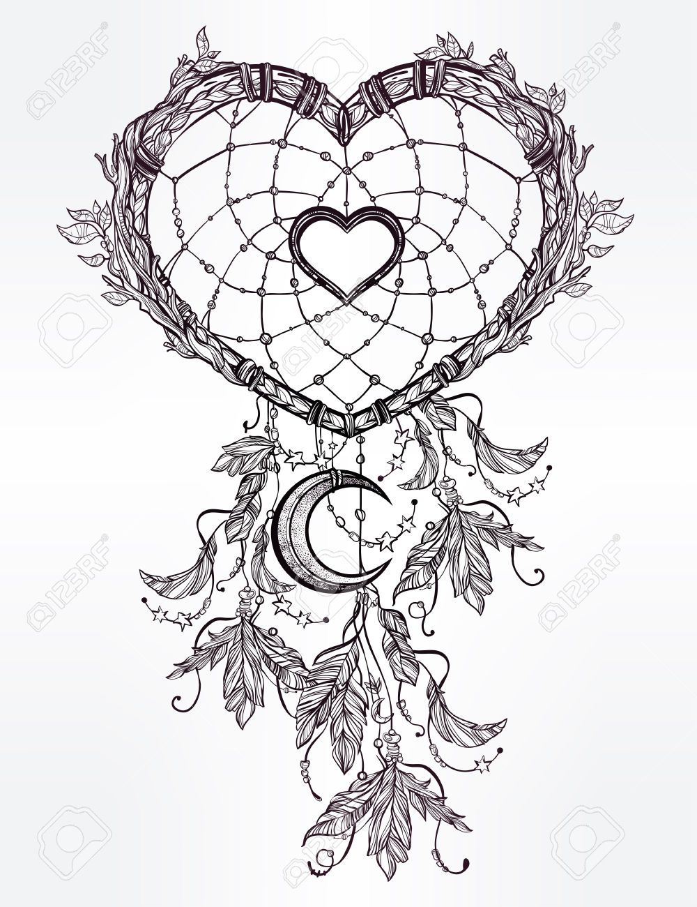 Hand Drawn Romantic Drawing Of A Heart Shaped Dream Catcher Dream Catcher Tattoo Design Dream Catcher Coloring Pages Dream Catcher Drawing