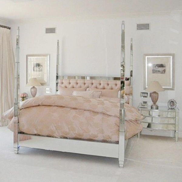 lisa vanderpumps pink bedroom with mirrored canopy bed - Mirror Bed Frame