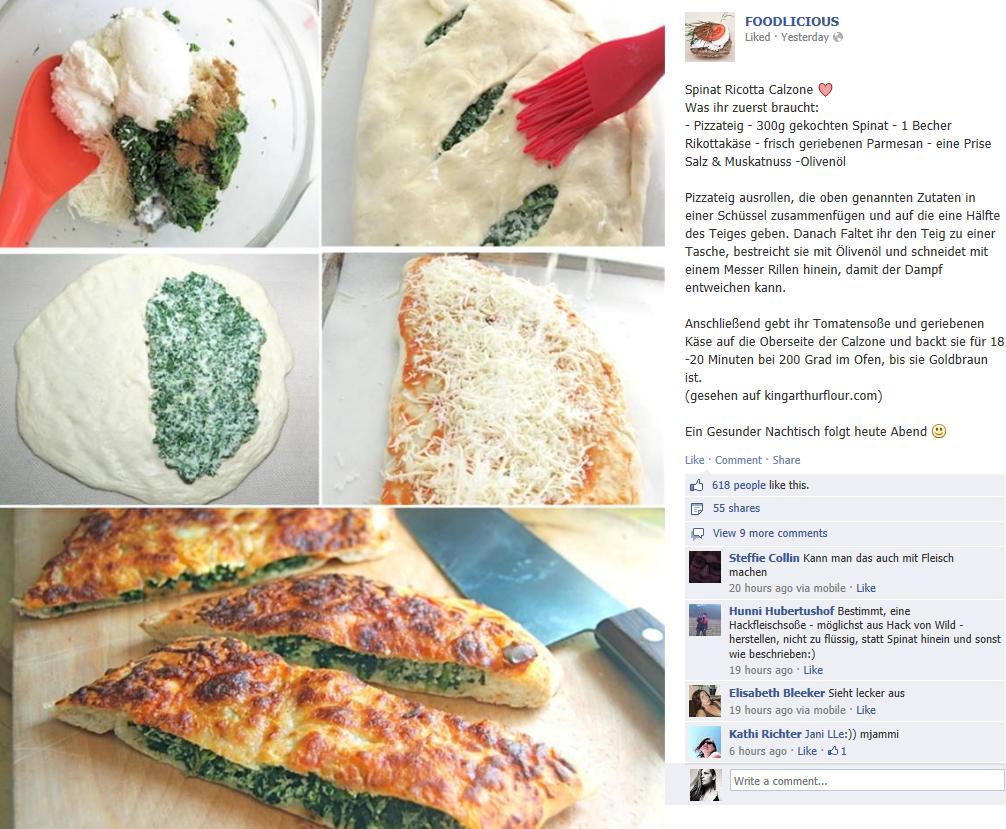 Spinat Ricotte Calzone Pizzateig Ausrollen Pizza Teig Teig