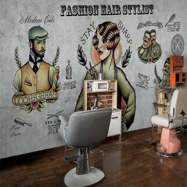 Pin By Sal Alcaraz On Barbershop 3d Wallpaper Living Room Makeup Salon 3d Wallpaper For Walls