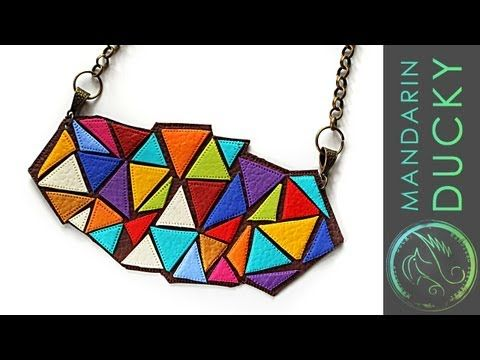 ▶ DIY: STATEMENT NECKLACE - from polymer clay (Leather necklace effect) - ポリマークレイ,폴리머 클레이 - YouTube