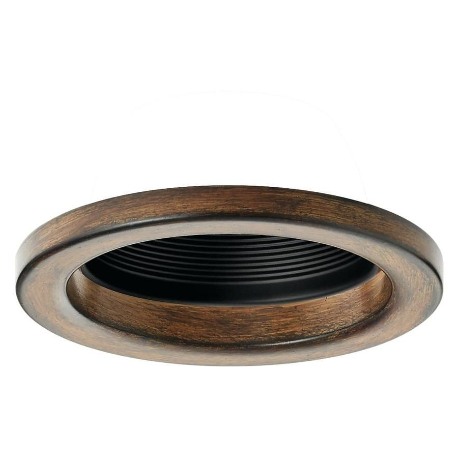 Barrington Distressed Black And Wood Baffle Recessed Light Trim Fits Housing Diameter 4 In