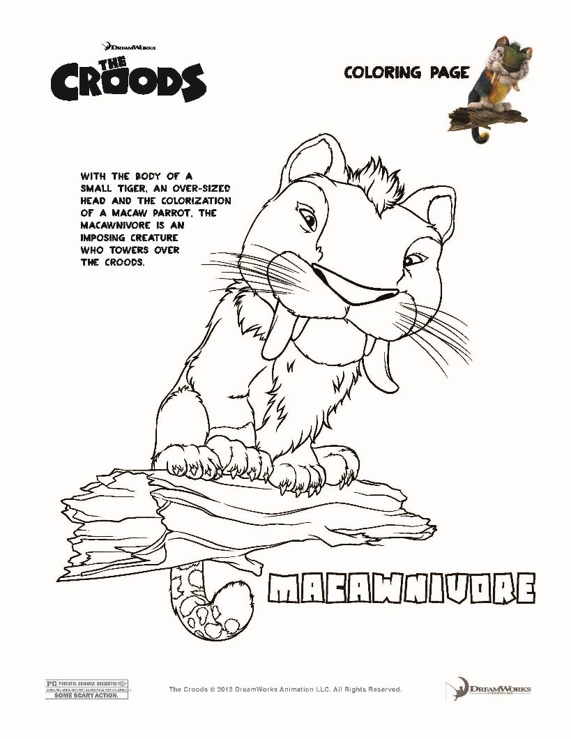 macawnivore the croods coloring page coloring book pinterest