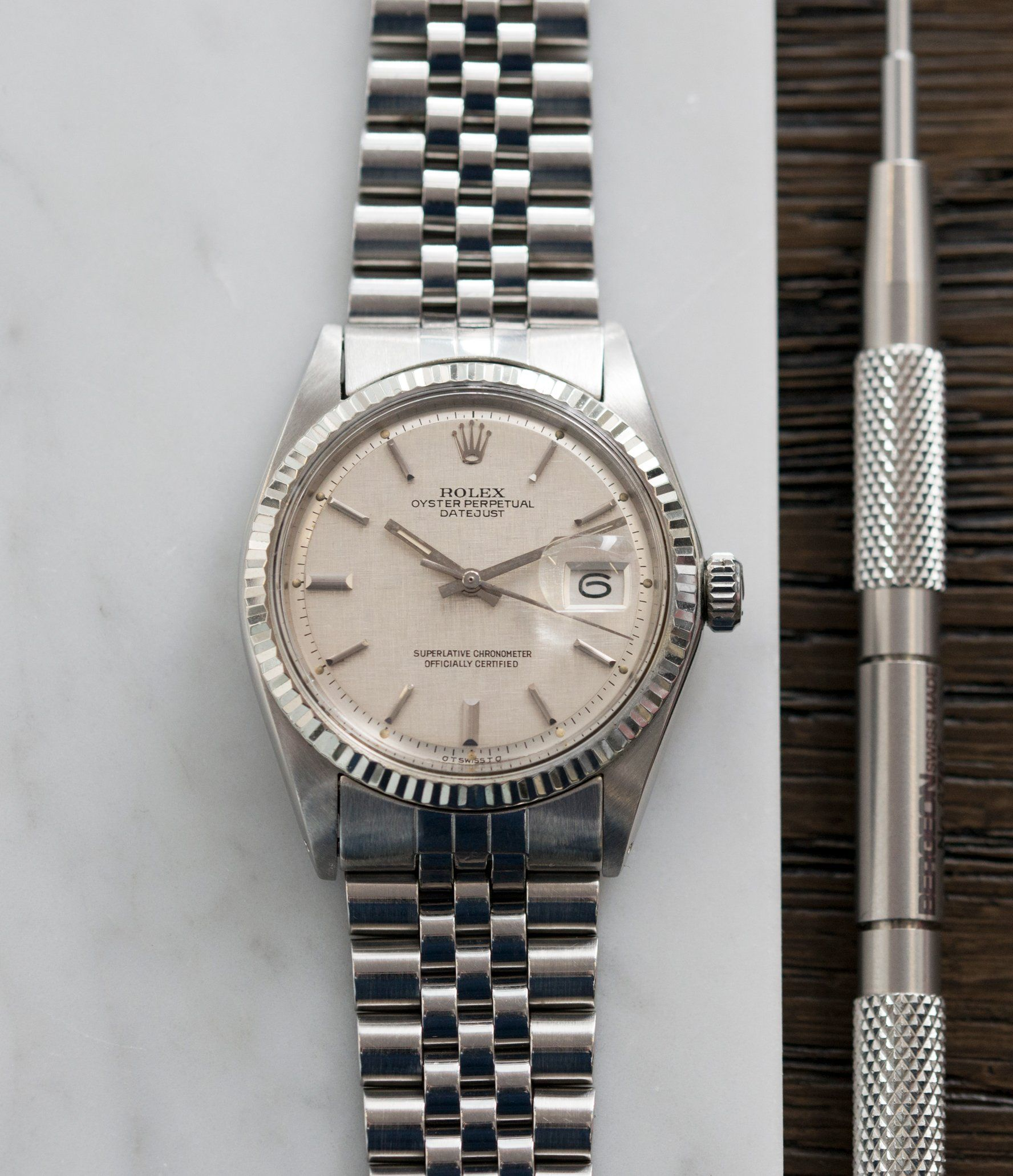 7754a00f8cc Rolex Datejust 1601 linen dial Oyster Perpetual vintage automatic steel  sport dress watch at A Collected Man London