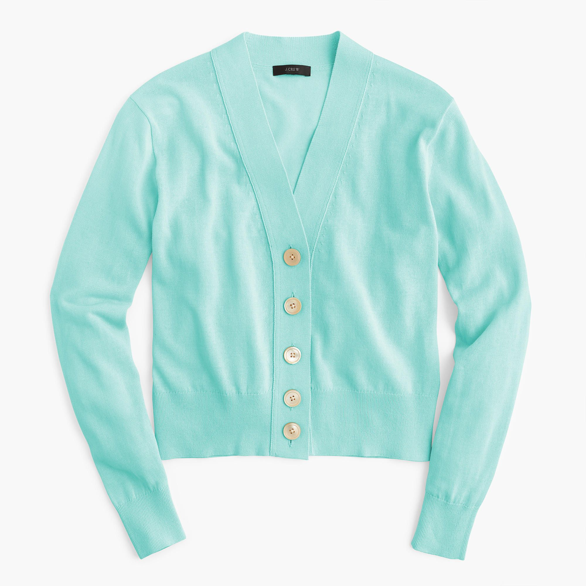 Cropped lightweight cardigan sweater in brilliant aqua | J. Crew ...