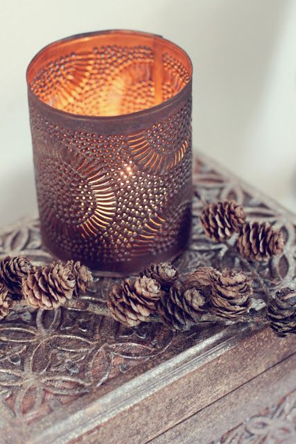 candles and pinecones...
