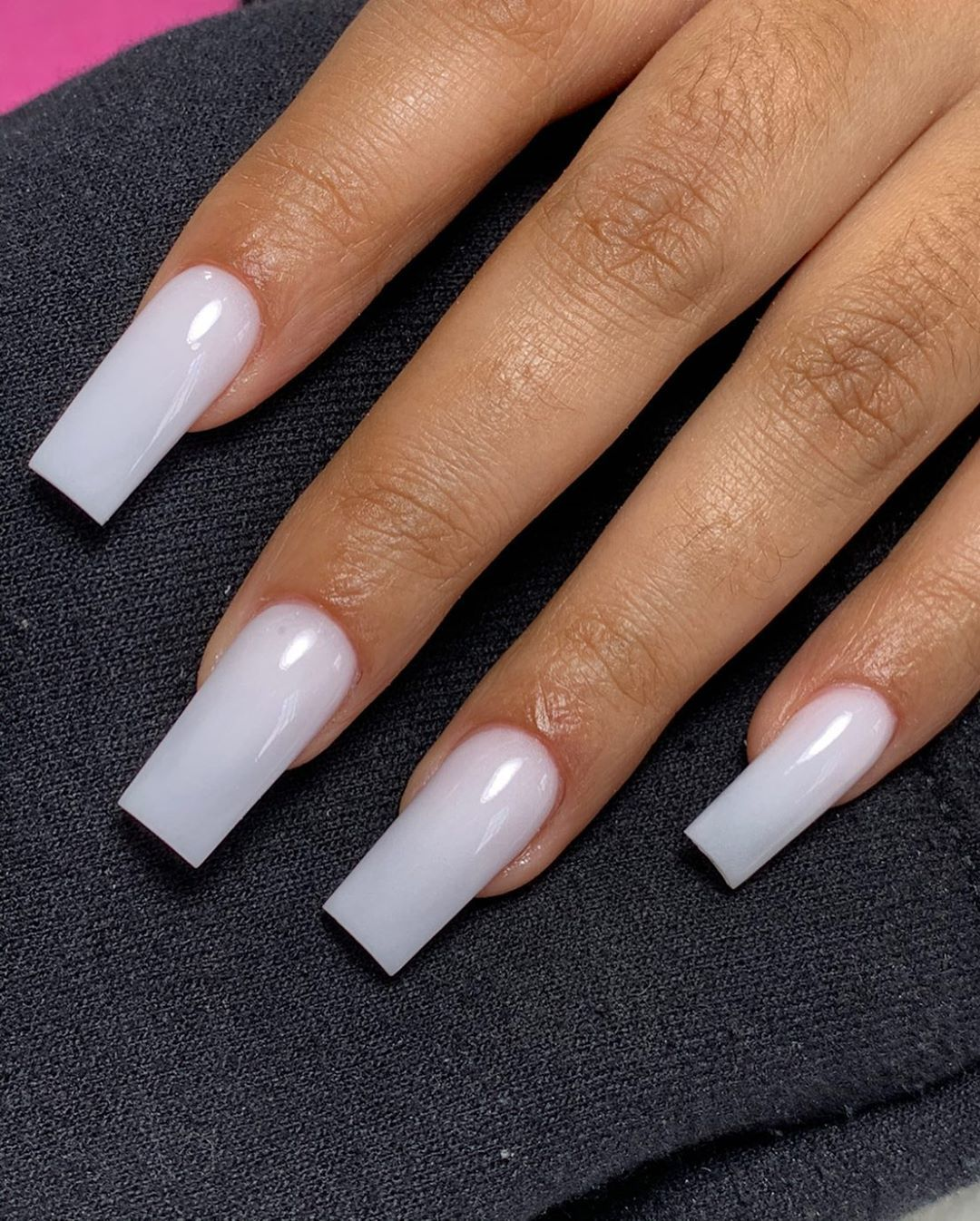Clawed Tips In 2020 Long Square Nails Blush Nails White Acrylic Nails