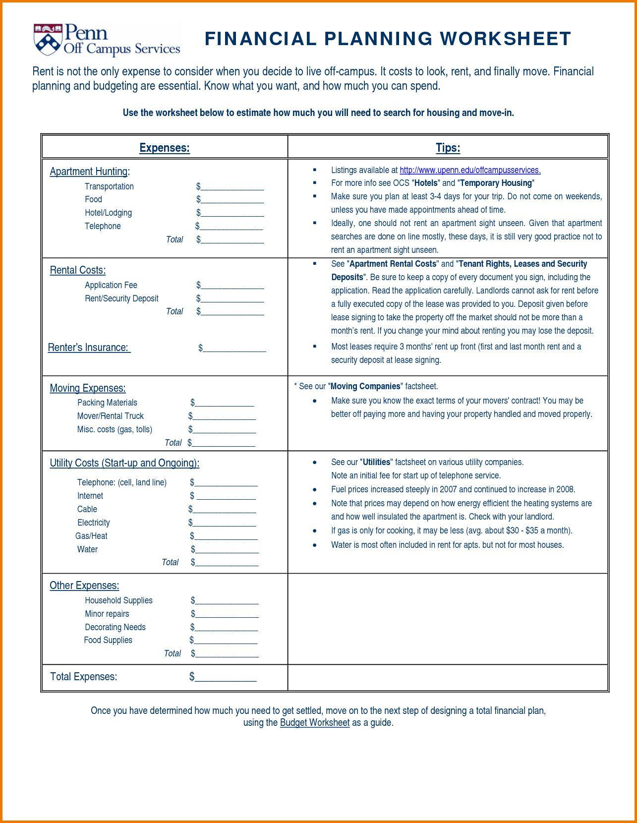 Recent Financial Worksheet