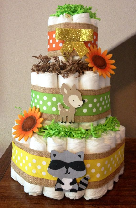 3 tier diaper cake woodland themed diaper cake forest animals baby shower decoration