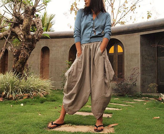 Origami long lounge pants ...Light Gray linen/cotton by cocoricooo