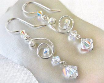 Silber Crystal White Pearl Draht Arbeit Windung baumeln Ohrringe Swarovski Crystal Aurora Borealis handgemachten Schmuck Kanada