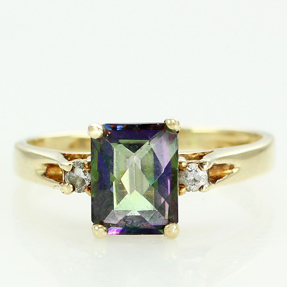 Wedding decorations purple october 2018 K Yellow Gold u Emerald Cut Enhanced TOPAZ Ring with Diamond