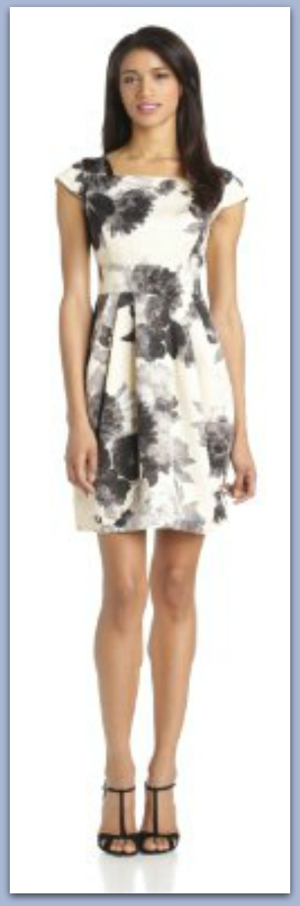 Eliza J Printed Fit and Flare DressColor: Black/White 95% Polyester/5% Spandex Dry Clean Only Allover floral-pattern A-line dress with cap sleeves Square neckline Inverted-pleat skirt Exposed back zipper Made in Vietnam http://www.amazon.com