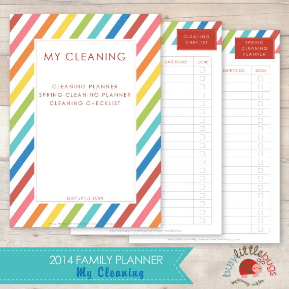 2014 Family Planner - My Cleaning planner Pinterest Family