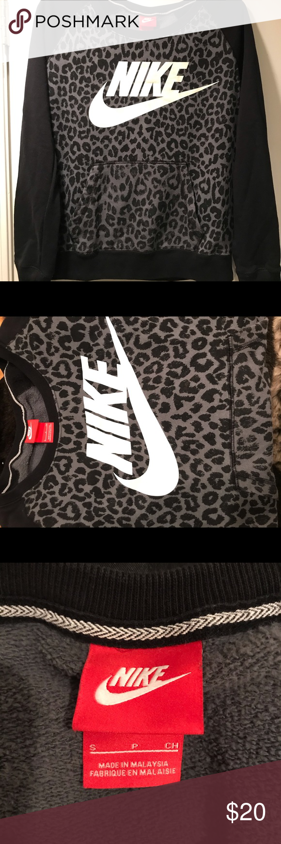 Nike Leopard Print Crewneck Sweatshirt Leopard Nikes Crew Neck Sweatshirt Grey Leopard Print [ 1740 x 580 Pixel ]