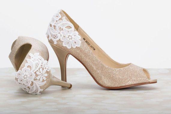 Lace Wedding Shoe Wedding Shoes 3 Inch Heel Champagne Gold Shoe Lace Heels Wedding Pumps Lace Gold Champa Wedding Shoes Lace Lace Heels Wedding Shoe