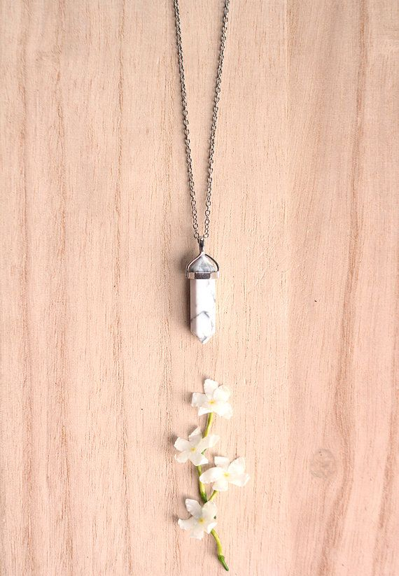 White Howlite Crystal Point Necklace- Howlite Pendant, Silver Delicate Chain Necklace, Bohemian Necklace, Gift for Bridesmaid, Bestfriend