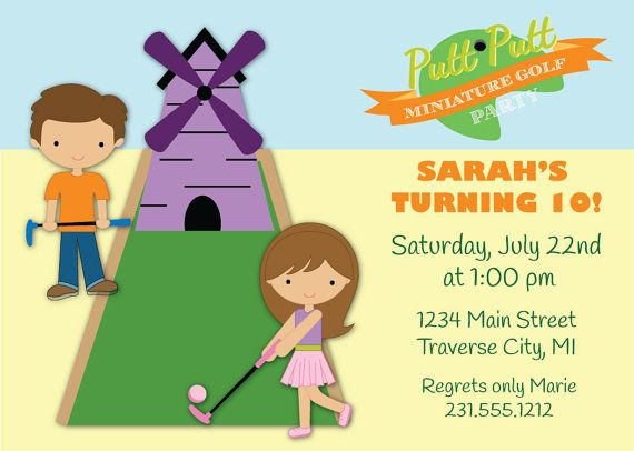 Mini Golf Invitation Boys or Girls Birthday Party Invite – Mini Golf Birthday Party Invitations