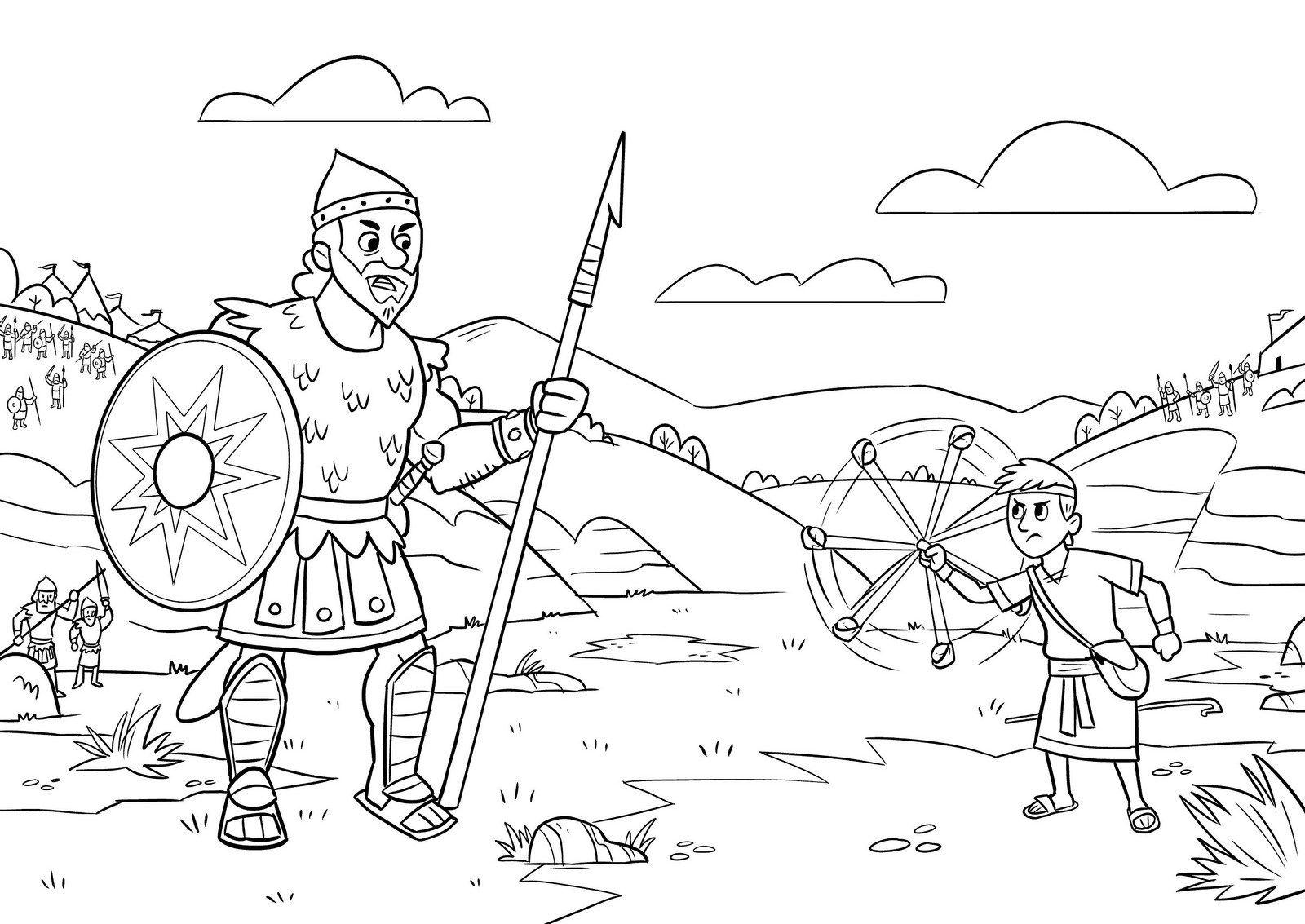 David And Goliath Warrior Coloring Sheet David And Goliath Coloring For Kids David And Goliath Craft