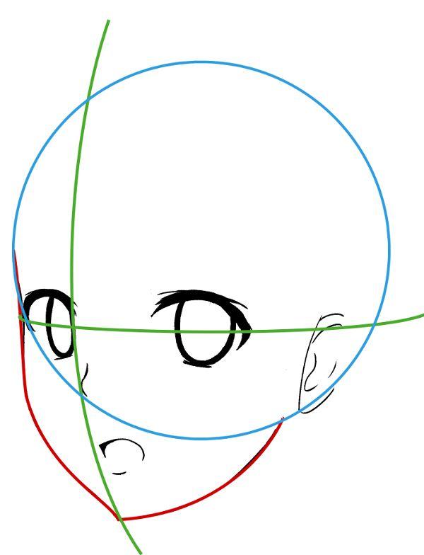 Tutoriel manga comment dessiner le visage de trois quart - Dessin manga visage ...