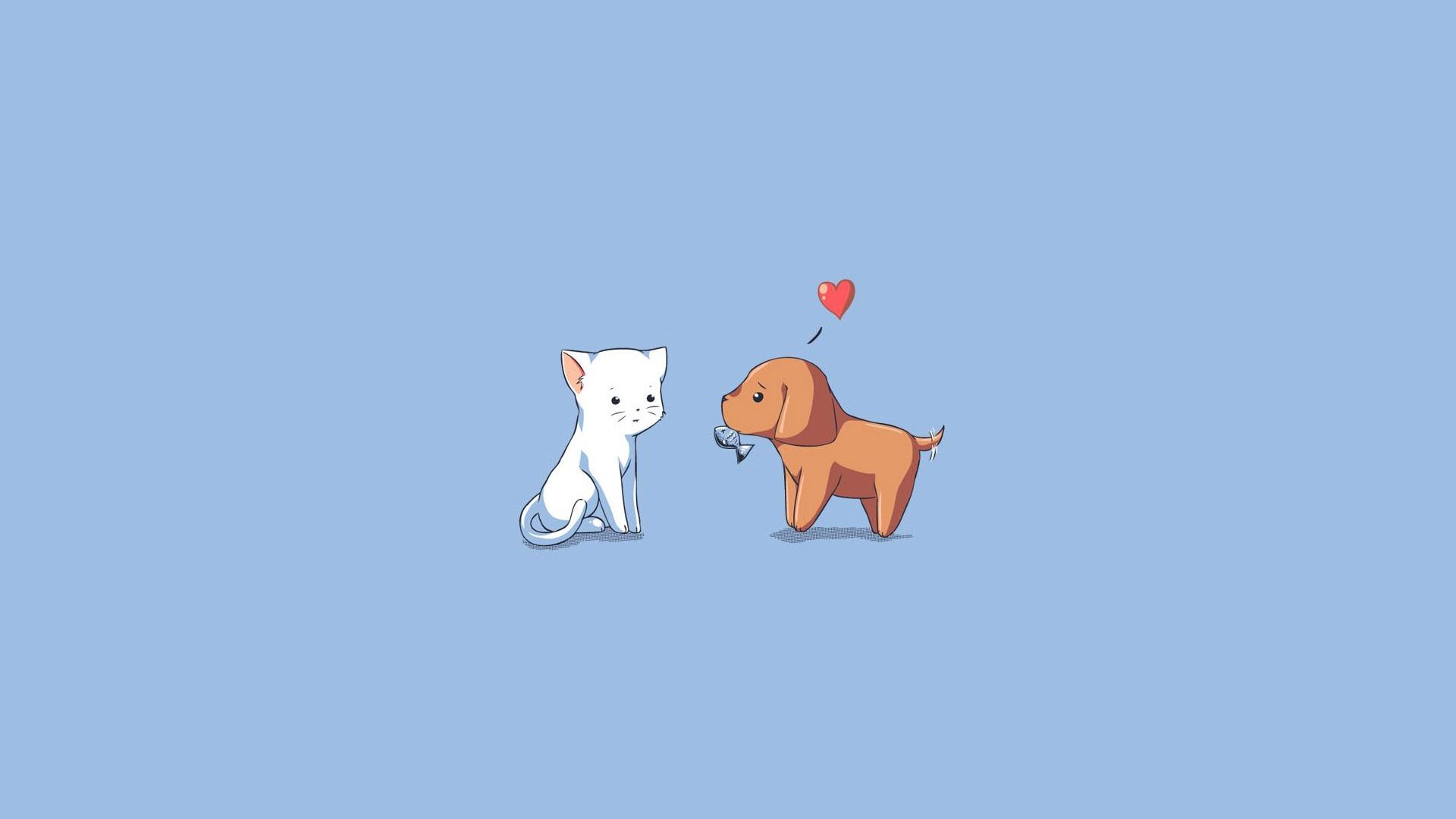 1920x1080 Wallpaper Dog Cat Kitten Puppy Drawing Heart With