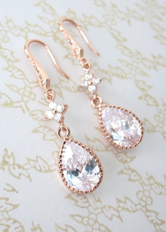 Rose Gold Cubic Zirconia Teardrop Earrings Gifts For Her Bridal Drop Dangle Pink Weddings Bridesmaid Colormemissy