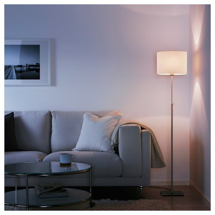 Alang Floor Lamp With Led Bulb Nickel Plated White Ikea Floor Lamp Ikea Floor Lamp Lamps Living Room