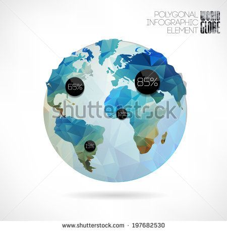 Vector world globe 3d triangular map of the earth modern elements vector world globe 3d triangular map of the earth modern elements of info graphics gumiabroncs Gallery