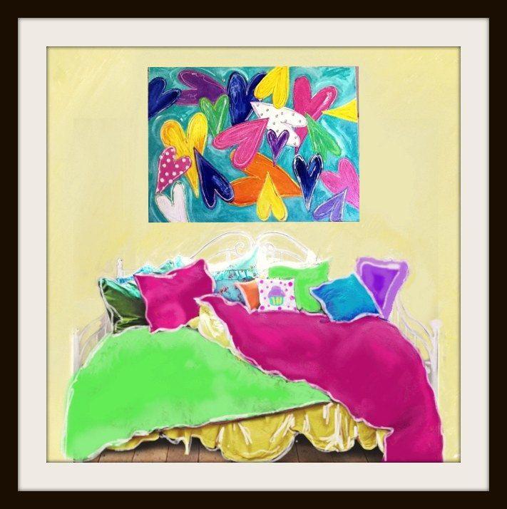 JAR OF HEARTS Big Bold Bright Painting Wall Art For Girls or Teen or Tween Bedroom