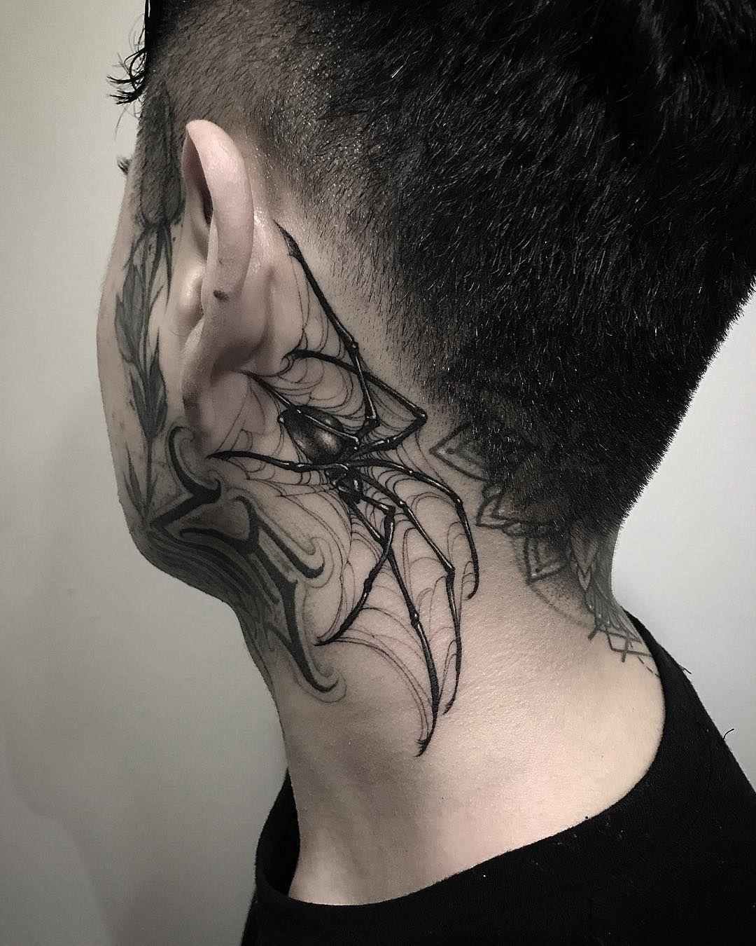 Blackwork By Gara Neck Tattoo Neck Tattoo For Guys Tattoo Artists