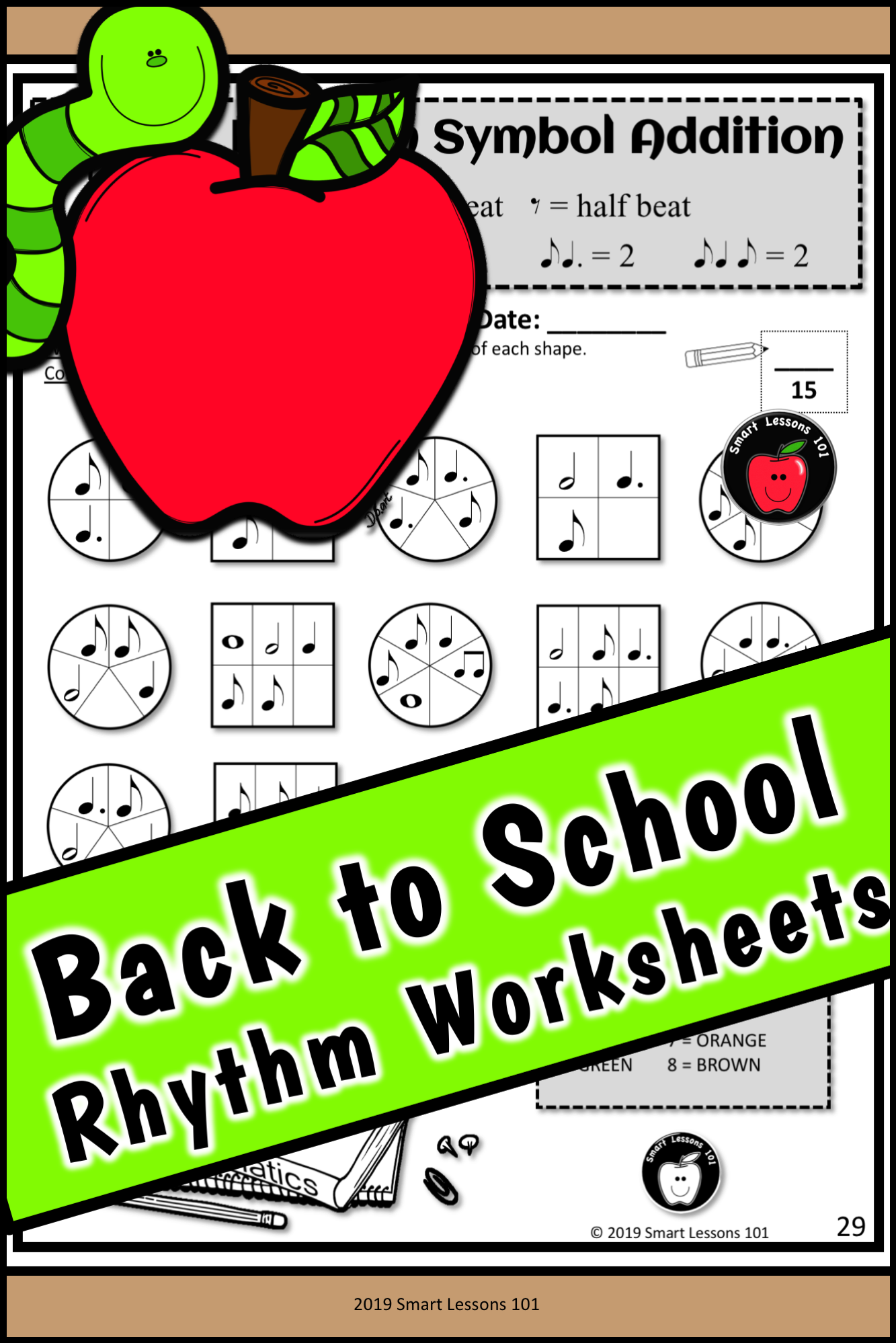 Rhythm Worksheets Back To School Music Activities Fall
