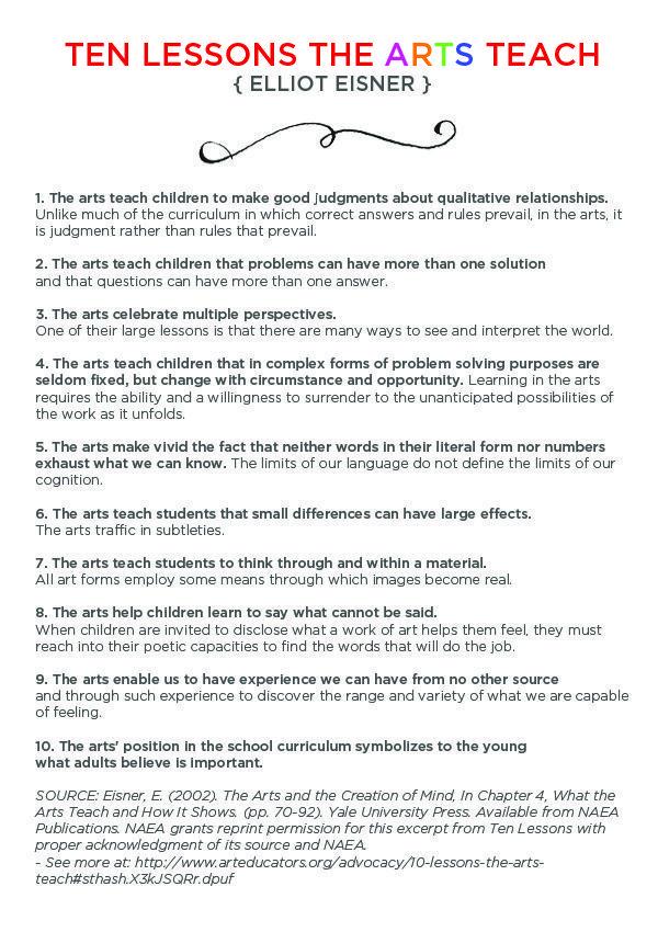 Elliot Eisner Arts Education Leader and Visionary Art lessons - best of 9 artist statement template