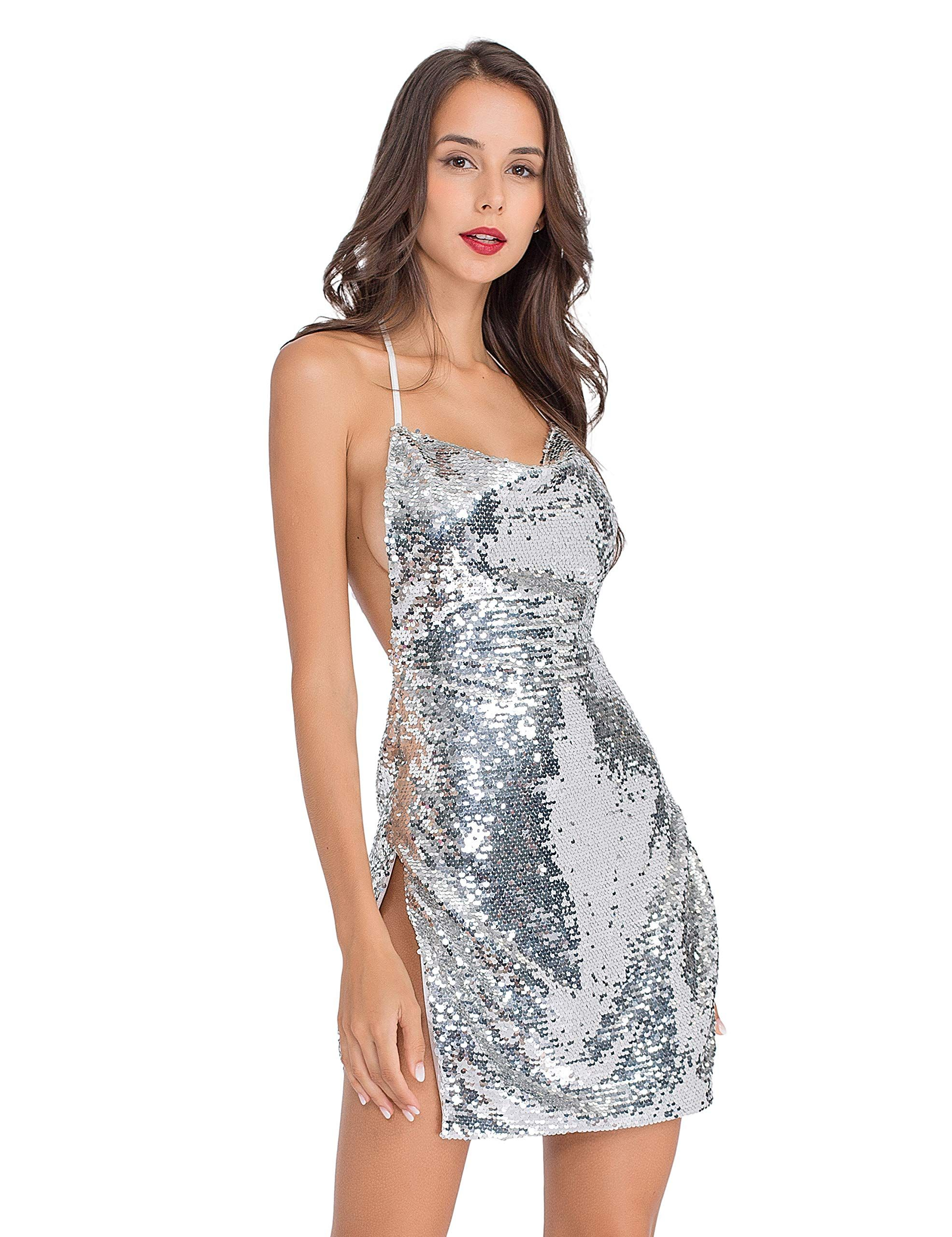 e35bb1bc304f Lomantise Sequin-Slit Club-Dress Sexy Bodycon,Glitter Mini-Clubwear Backless  Deep V Neck Bodycon Party Dress #affiliate #glitter #dress