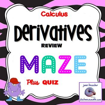 Calculus Derivative Review Fun Maze and Worksheet | Ap calculus ...