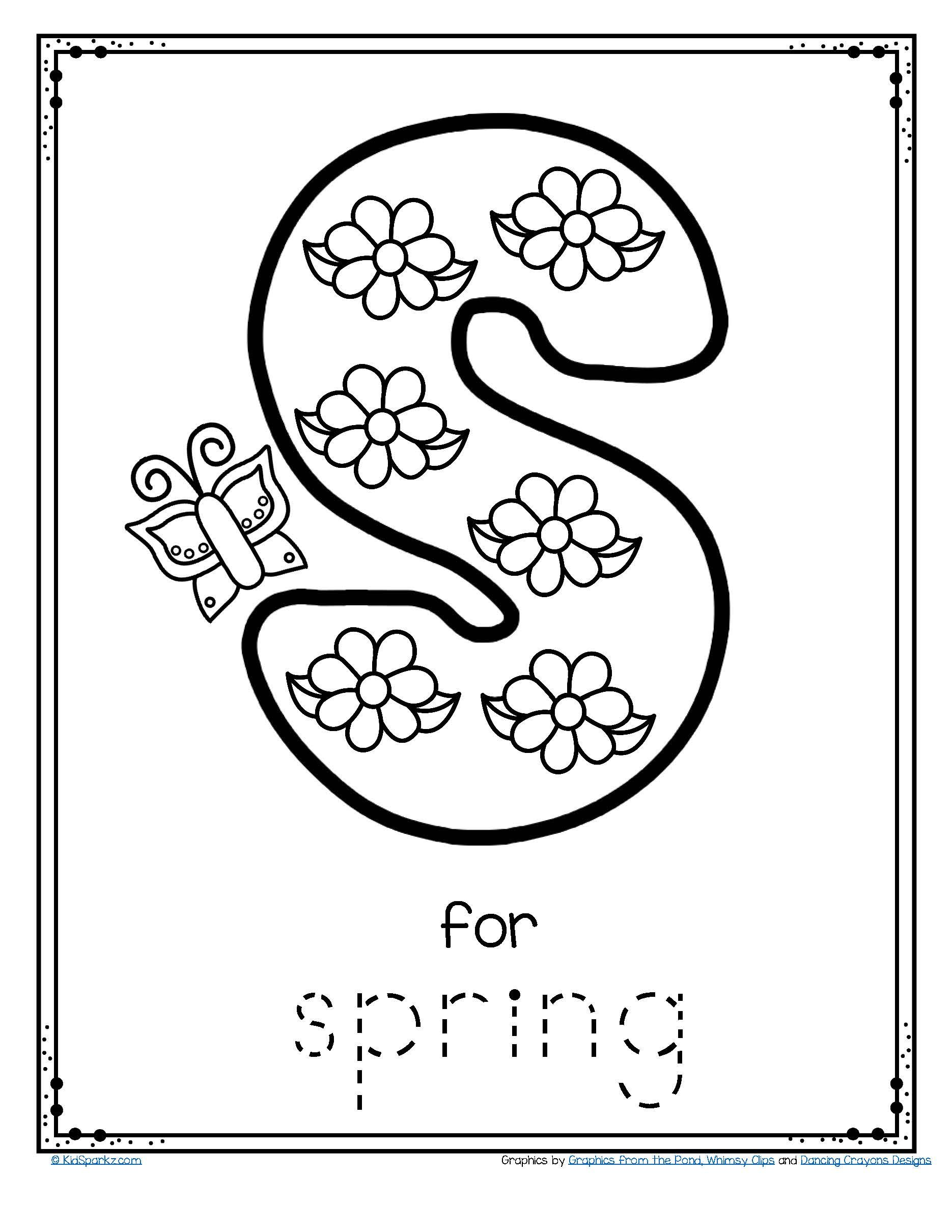 Free Letter S For Spring Trace And Color Alphabet
