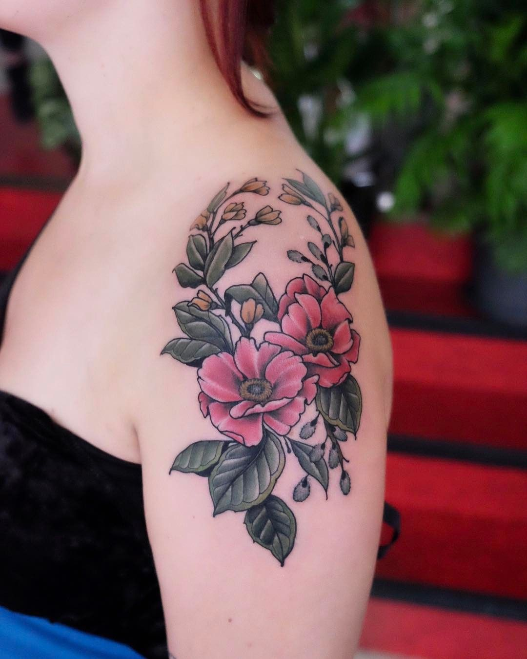 Beautiful Botanical Tattoos By Salem Witch Descendant: Flowers On Tine, Thanks! Done @salonserpenttattooparlour