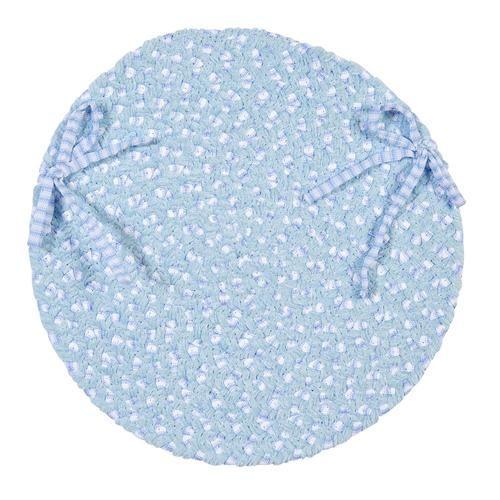 Chenille Blend Round Braided Chair Pad, BK58 Sky Blue
