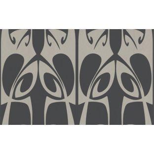 Barbara Hulanicki Hula Wallpaper Charcoal And Gold From Homebase Co Uk