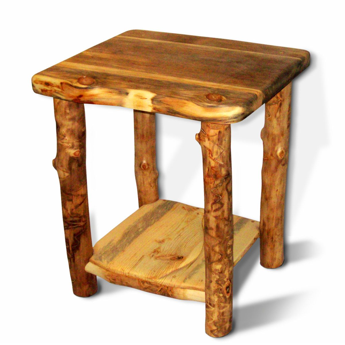 Reclaim Wood End Table Made Sustainably From Aspen Logs Eco Friendly Furniture From Naturally Aspen Eco Friendly Furniture Wood End Tables Cabin Furniture