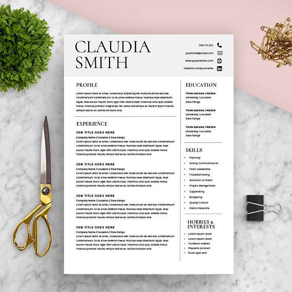 Medical Resume Template Word Minimalist Resume FREE Cover - hobbies and interests on a resume