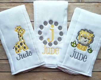 Set Of 3 Personalized Baby Burp Cloths Embroidered Burp Cloth Set